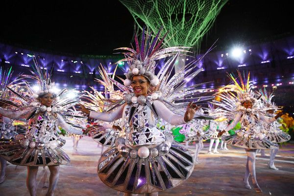 Dancers perform during the Closing Ceremony on Day 16 of the Rio 2016 Olympic Games at Maracana Stadium on August 21, 2016 in Rio de Janeiro, Brazil.