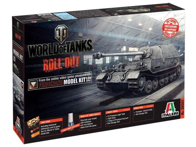 Model Italeri 36501 tank destroyer Ferdinand World of Tanks, plastikowy model do sklejania w skali 1/35.