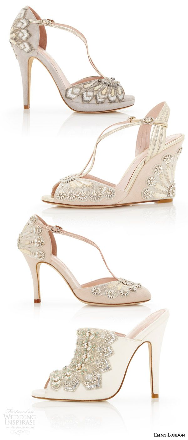EMMY LONDON #bridal gorgeous #wedding #shoes art deco vintage embellished open toes high heel sandals pumps blush gray ivory kid suede wedding shoe types