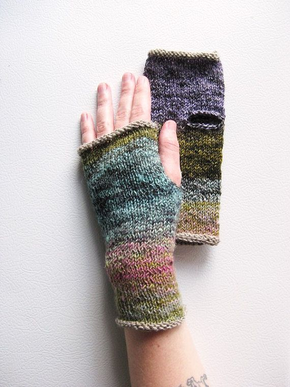 Mountain Flower HandKnit Wrist Warmers by extase on Etsy, $30.00