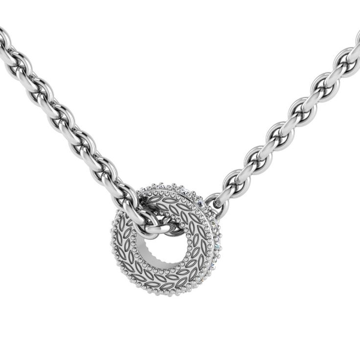 [WHY LOVE] Circle Of Life Collection - Silver Engraved Front Diamond Pendant And Chain by WHYJewellery