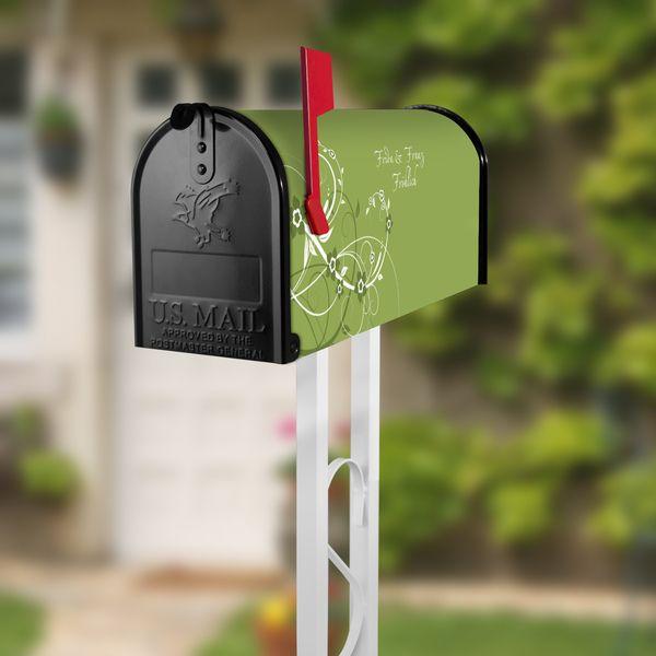 US Mailbox Schwarz Standfuß Weiß Motiv Grüne Blüte von banjado via dawanda.com