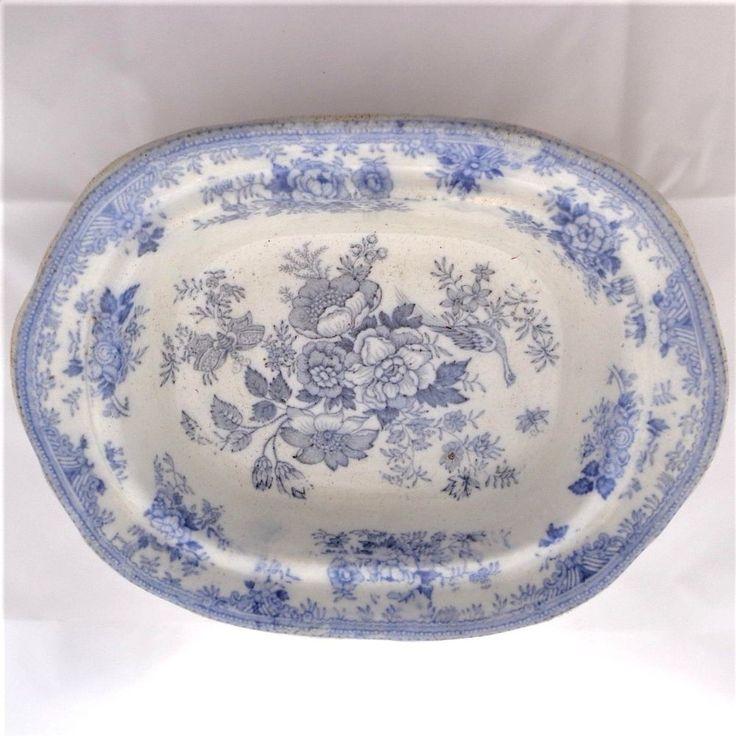 Antique Asiatic Pheasants Blue & White Pattern Tureen Base J Taylor c 1870 - 80 #Victorian #Tureens