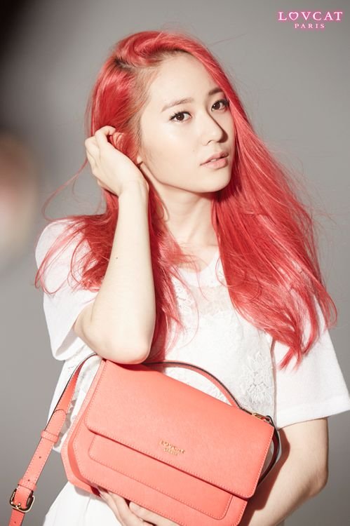 Krystal Jung Pink Hair and Pink  Bag