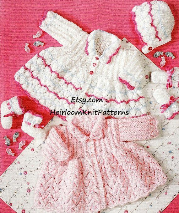 4ab29f8ff Baby Girl s Matinee Coat Bonnet Bootees Mitts Knitting Pattern DK ...