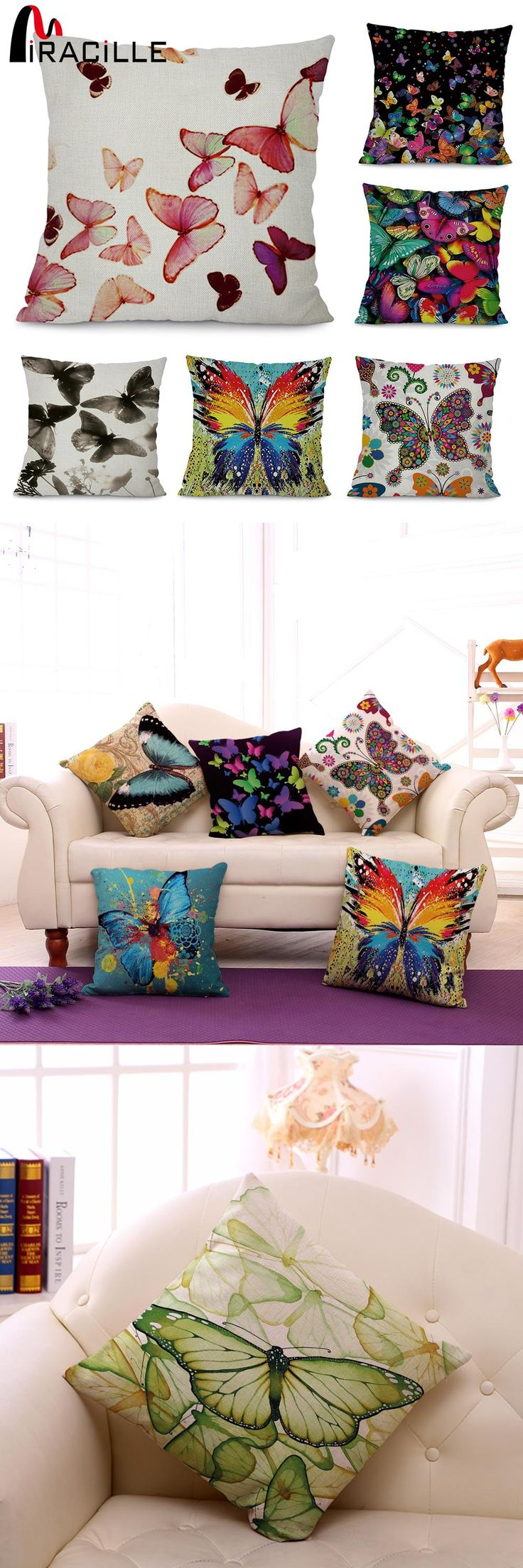 [Visit to Buy] Miracille Colorful Butterfly Art Printed Cushion Cover Modern Home Garden Chair Decorative Pillowcase 45x45cm Living Room Decor #Advertisement