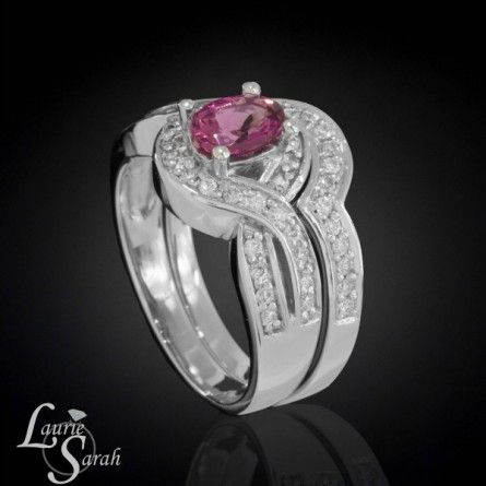 Great Oval Pink Tourmaline Wedding Set with Diamond Halo and Contoured Diamond Wedding Band LS