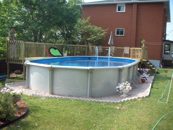 Small fiberglass above ground swimming pools designs with for Above ground pool decks for small yards