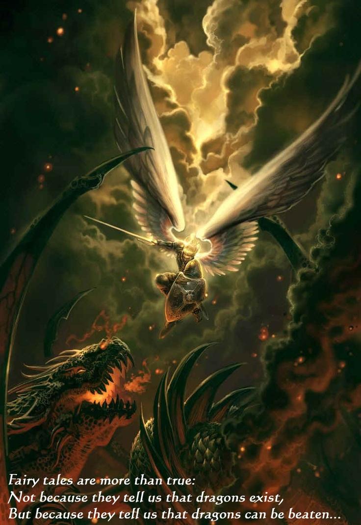High dawnknight tlinthar regheriad lathander paladin iluskan order - Angel Vs Dragon Demon Devil To Chain The Beast By Justin Gerard
