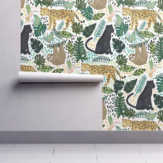 Rain Forest Wallpaper Emerald Rain Forest Animals By Etsy Forest Wallpaper Spoonflower Wallpaper Wallpaper