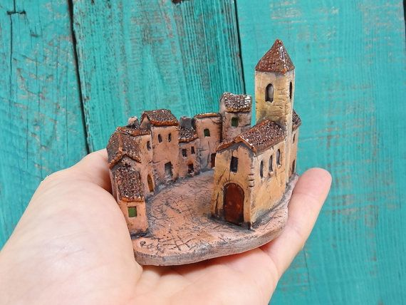 Miniature Medieval village square - ceramic sculpture with mini houses and church