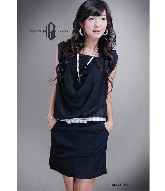 Grace Splicing Fake Two-pieces Sleeveless Dress Black With Belt