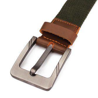 Mens Canvas Belts Casual Cowhide Trimmings Buckle Woven Black Strech Belts - US$7.88