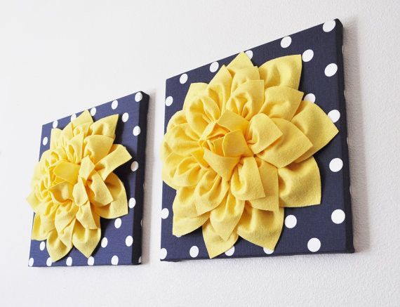 """Two Yellow Dahlia Flowers on Navy and White Polka Dot 12 x12"""" Canvases"""