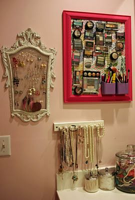 a place for the finishing touches: Organizations Jewelry, Organizations Ideas, Magnets Boards, Makeup Boards, Earrings Holders, Old Frames, Magnet Boards, Makeup Organizations, Jewelry Organizations