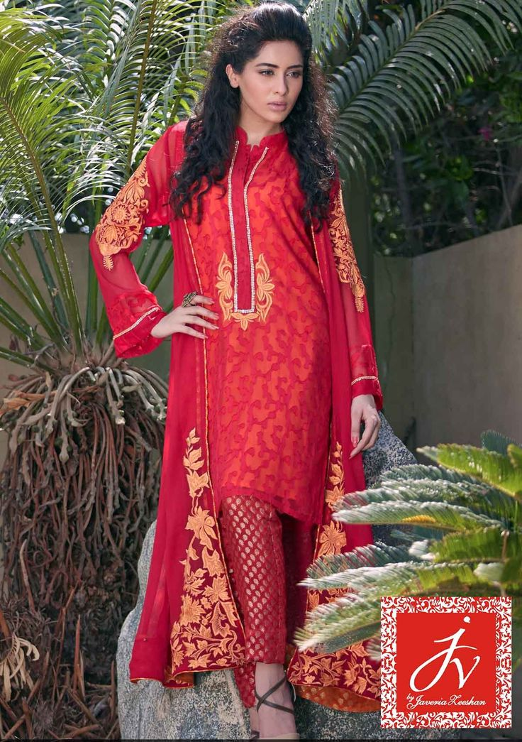 Pakistani Designer Dresses - Lowest Prices - Pink Chiffon with Orange embroidery By JV Eid Collection 2015 - Dresses - Latest Pakistani Fashion