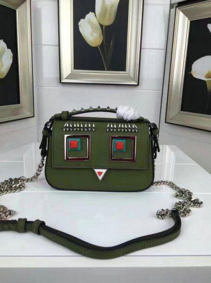 fendi baguette 2017. 2017 spring fendi double micro baguette bag with multicolored metal appliqués and square eyes motif n