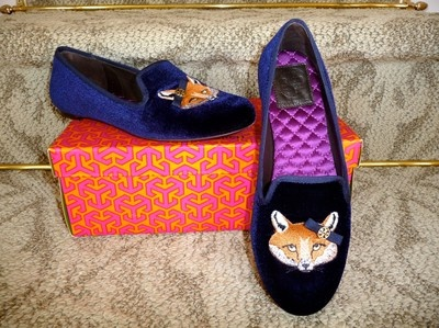 Tory Burch Navy Velvet Fox Smoking Loafers Shoes VERY RARE SOLD OUT  EVERYWHERE 6