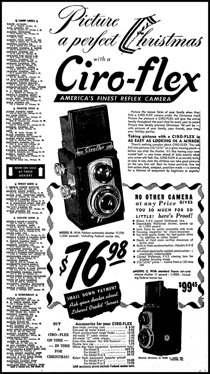 https://flic.kr/p/Vtpjiz | Vintage Advertising For The Ciro-Flex TLR Camera In The Chicago Tribune Newspaper, December 12, 1948