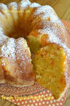 Fresh Peach Pound Cake 1 | made with a boxed yellow cake- followed box directions, then added 1/2 tsp almond extract, 1/2 C sour cream (not light, regular), I baked in a bundt pan at 325* for approx 45-50 min.  Made a vanilla cinnamon glaze for top, but could have eaten plain.  Yum!/njm