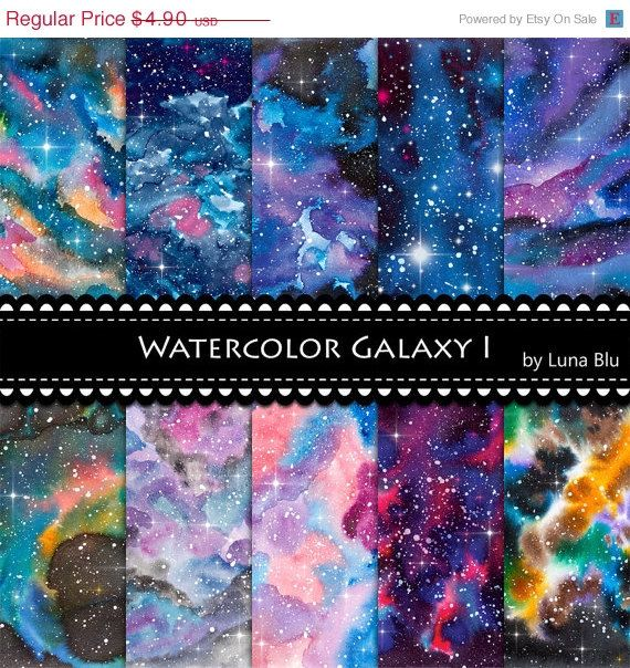 "Galaxy Digital Paper: ""Watercolor Galaxy"" star digital paper, starry skies, outer space art, night sky digital paper, watercolor background"