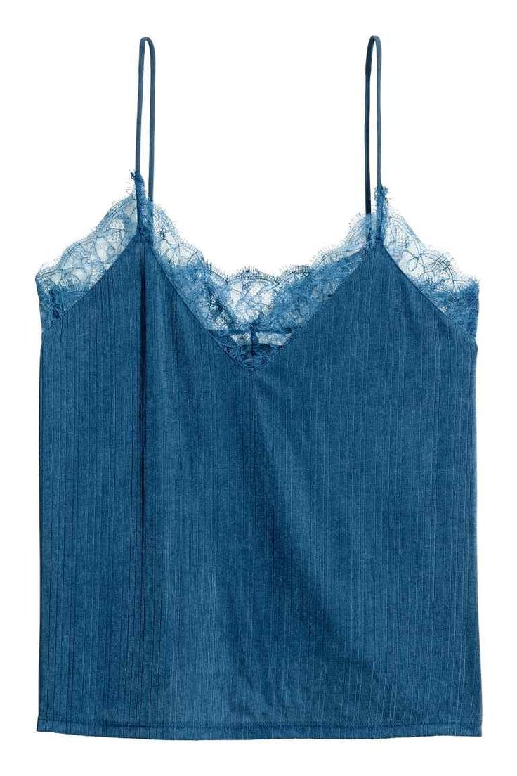 Tricot straptop met kant - Donkerblauw - DAMES | H&M NL
