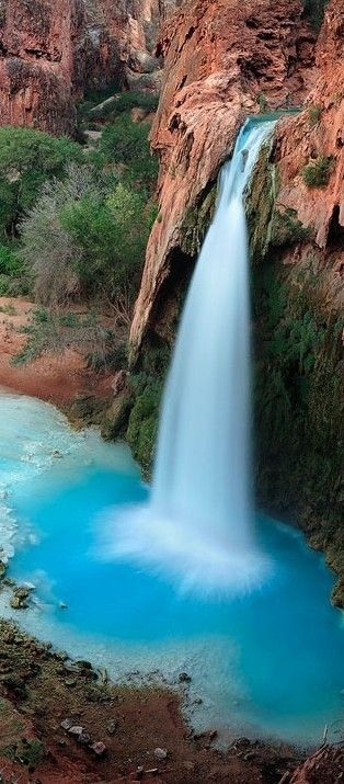 Havasu Falls in the Grand Canyon, Arizona The only way to get there is hiking, by horse or helicopter. Spectacular spot.