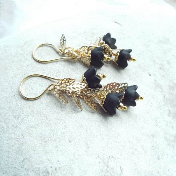 BLACK TULIPS- Gold and Black Earrings- Long Gold Earrings- Hollywood glamour
