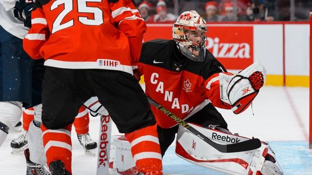 Zach Fucale of Team Canada at the World Junior Hockey Championships