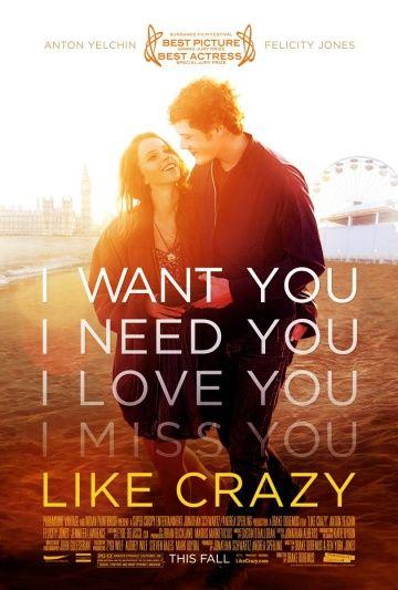 Как сумасшедший (Like Crazy) Фильм-драма 2011 года режиссёра Дрейка Доремуса. Снят на цифровой фотоаппарат Canon EOS 7D, бюджет фильма составил менее $250000. Участник кинофестиваля Сандэнс
