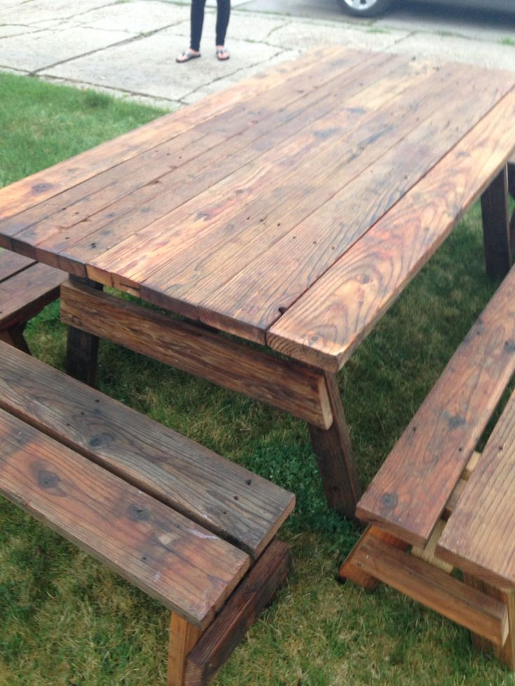 25 best ideas about outdoor picnic tables on pinterest rustic outdoor dining furniture diy. Black Bedroom Furniture Sets. Home Design Ideas