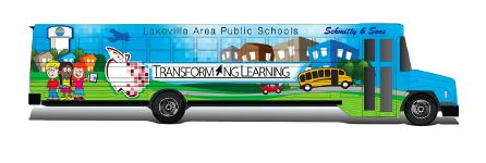 This brightly colored Wi-Fi enabled bus will deliver summer school classes to Orchard Lake Elementary students living in the Queen Anne Trailer Park this summer. The project is a coordinated effort between the district leadership, OLE staff and Schmitty & Sons Bus Company, which donated the retired bus, gas, a driver and $2,000 cash to help make the project a reality. (Photo submitted)
