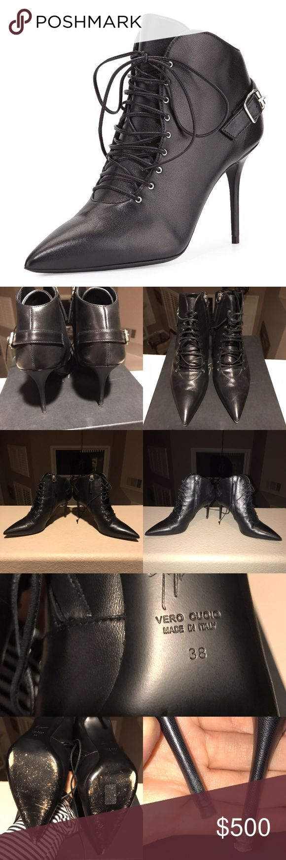 Giuseppe Zanotti Lace Up Black Ankle Booties 100% AUTHENTIC. I purchased these online from Neiman Marcus some time in the Spring of 2016.  I have only worn them once, signs of wear are very minimal and mainly only visible on the bottom of the shoe.   I would say the sizing is true to size, I normally wear 37.5 in most shoes and I felt that these were just a bit too big on me.  NO MODELING!! NO TRADES!!! Giuseppe Zanotti Shoes Ankle Boots & Booties