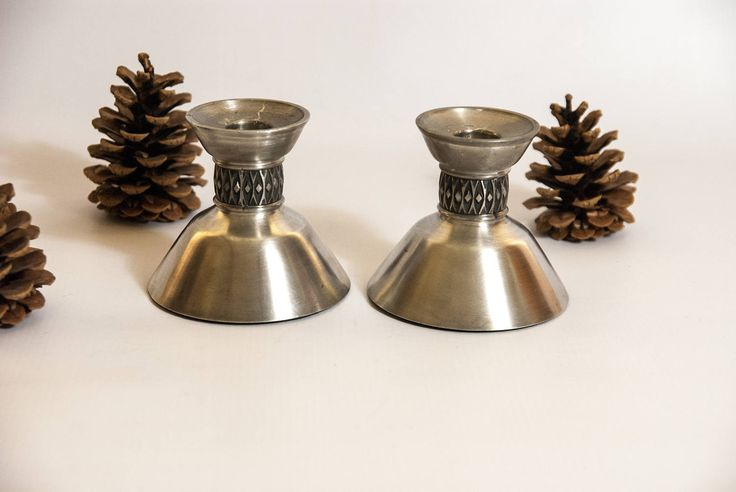 Pewter candle holders / silver candle holders / Norwegian candlesticks / scandinavian candle holders /  vikings candle holder / metal candle by VintageEuropeDesign on Etsy