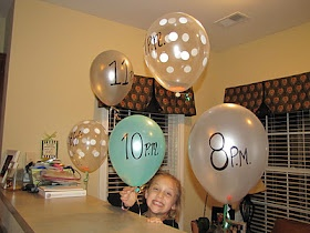 """New Year Party Idea Get balloons blown up and put little notes inside for them to pop """"on the hour""""   Inside we did the following notes: 7pm - Have a dance party! 8pm - Make Brownies 9pm - Pop your Confetti Poppers 10pm - Do some Kareoke (which was to Taylor Swift I might add! Ha!) 11pm - Make a Toast (w/ Sparkling Grape Juice, don't worry, but in Champagne glasses ha!) Midnight - Make Some Noice!! :)  Before the end of the night, write down some questions on cards and have each kid  sit in…"""