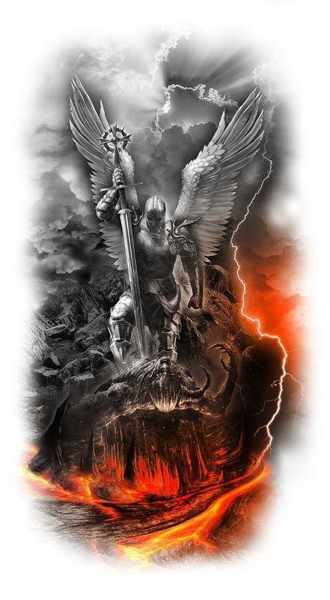 Angel crushing Satan