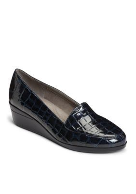 Aerosoles Women's True Match Tailored Wedge Loafer - Blue Crocodile - 10.5M