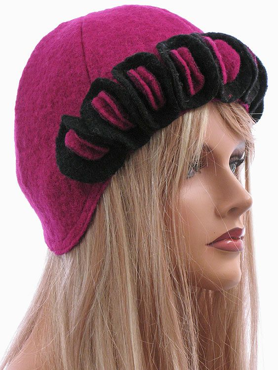 Cute artsy hat cap hat boiled wool in purple pink with circles - Artikeldetailansicht - CLASSYDRESS Lagenlook Art to Wear Women's Clothing