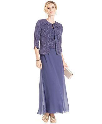 Alex Evenings Petite Dress and Jacket, Sleeveless Glittered Gown - Petite Dresses - Women - Macy's
