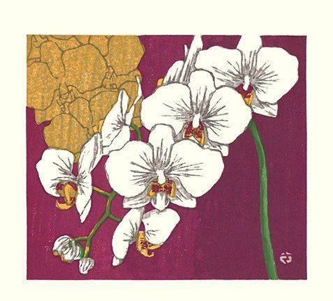 Artist: Takao Sano. Keywords: flower floral modern contemporary style woodblock woodcut print picture hanga japan japanese orient oriental asia asian art readercollection.com moth orchid phaelenopsis