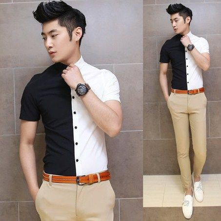 2014 Cool Summer Shirt Black White Color Blocked Slim Stylish Unique Casual Fashion Design Shirts $24.88