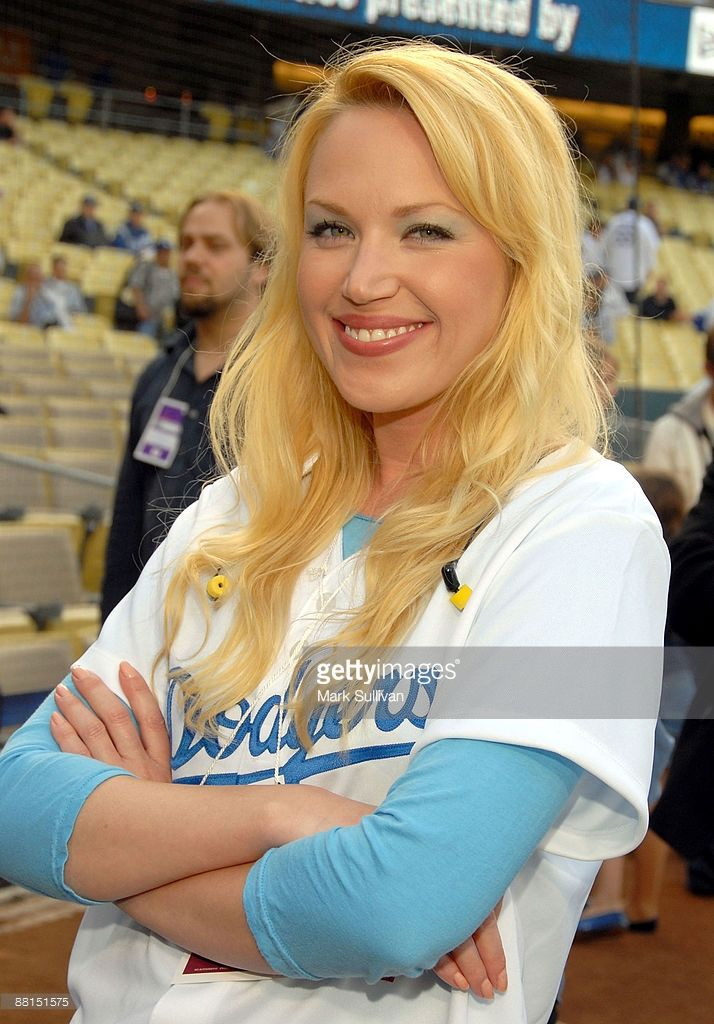 Actress Adrienne Frantz poses prior singing the National Anthem before LA Dodger Game at Dodger Stadium on June 1, 2009 in Los Angeles, California.
