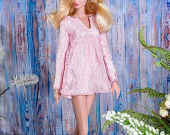 ELENPRIV guipure pêche mini robe pour Fashion royalty FR2, NuFace, Infusion de couleur et taille assimilée corps