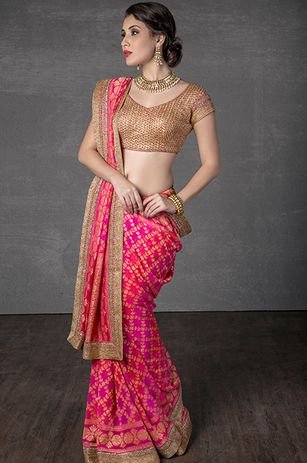 Banarasi georgette shaded saree with border embellished with stone and zari work. Blouse embellished with zari work