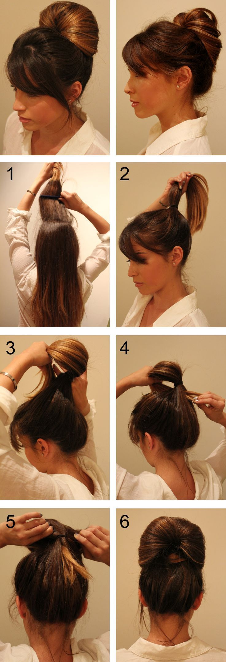 Inside out pony tail technique hair long hair updo braids diy hair diy bun hairstyles wedding hairstyles hair tutorials wedding hair easy hairstyles
