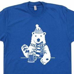 Polar Bear Drinking Beer T Shirt Vintage Skiing T Shirt Funny Vintage T Shirts