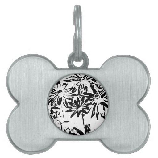 Transparent flowers pet tags