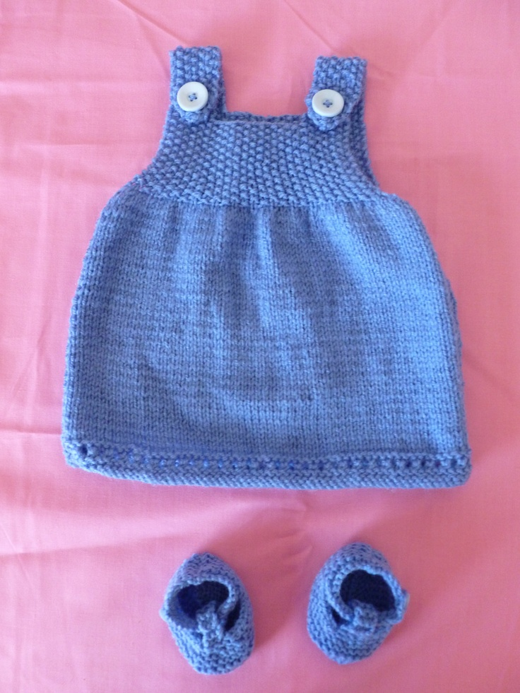 Hand Knitted Baby Dress and Mary Jane Booties (Blue). £12.50, via Etsy.