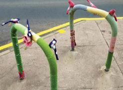 craftbomb3-247x180 imagei can't wait to yarn bomb this summer, a long hot lazy crazy,yarn bombing festival of an urban legend of a summer with giant pom poms and cake mmmmm