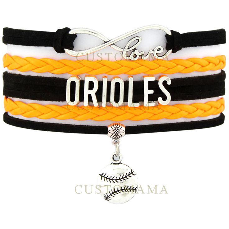 (10 PCS/Lot) Infinity Love Orioles Baseball Baltimore Baseball Multilayer Bracelet Women's Fashion Black Orange Leather Bracelet
